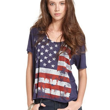 Tee By Big Star Top, Short-Sleeve Scoop-Neck Flag-Print Tee - Juniors Tops - Macy's