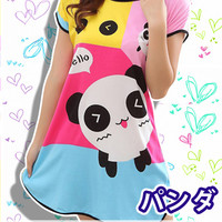 New Incredibly Happy Panda Korean Style Round-Neck Spring and Summer Home Clothes Free Size KK410
