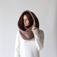 Chunky Circle Infinity Cowl Scarf Shawl Hood / THE VANCOUVER / Taupe