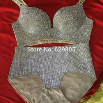 Sexy lingerie Glisten Bra Short Outfit Nightclub bar DJ singer Ds costumes Set drilling Sexy bikini Dance Stage Show Wear