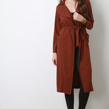 Belted Long Sleeves Open Front Longline Jacket