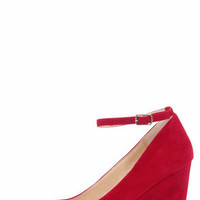 Bamboo Reya 02 Bordeaux Red Suede Ankle Strap Wedges