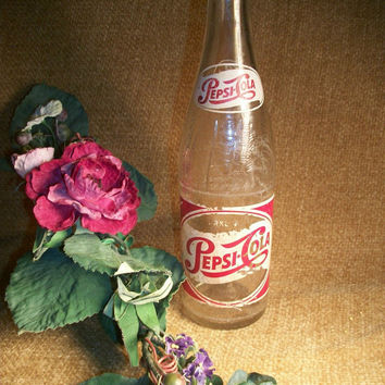 Antique 1950s Pepsi Cola Glass Bottle 12 Ounce Long Thin Neck Sparkling Soda Red White Decals Single Dot Clear Embossed Collectible