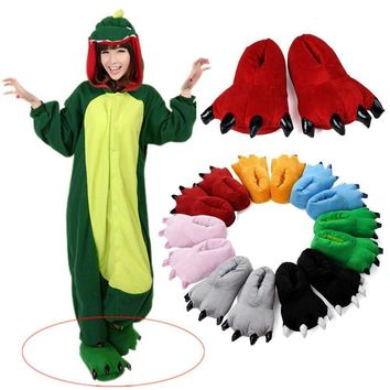 Unisex Onesuit Shoes Pajamas Costume Cosplay Animal Onesuits Slippers For Women Men Ad