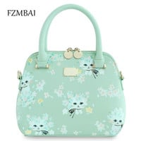 Women's handbag 2017 Summer and Spring Cat Printing  One Shoulder Sweet Gentlewomen Chain Shell Bag