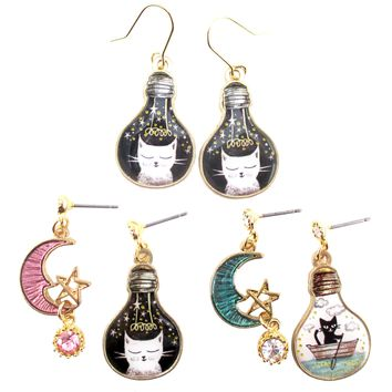 Black White Kitty Cat Crescent Moon Stars Space Cat Light Bulb Shaped Dangle Drop Stud Earrings