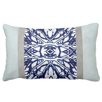 blue and white pillow abstract art design