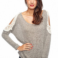 Open Shoulder Top - Grey