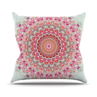 "Iris Lehnhardt ""Summer Lace III"" Circle Pink Green Throw Pillow, 20"" x 20"" - Outlet Item"