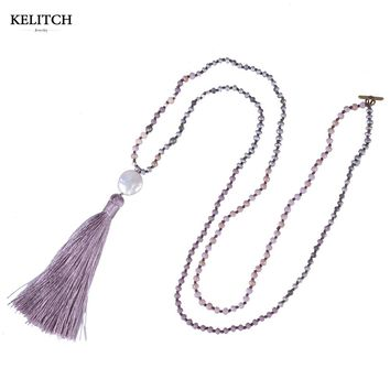 KELITCH Jewelry 1pcs Exclusive Crystal Beaded Necklace Simulated Pearl Beads Stone Femme Pendant Necklaces Long Charm Bijoux