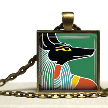 Anubis Glass Tile Pendant Ancient Egypt Necklace Anubis Pendant Egypt Necklace Egypt PendantAnubis Gift 1 Inch Square Anubis Necklace