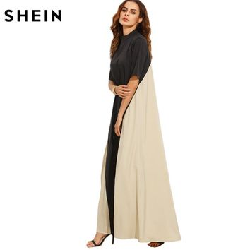 Casual Dress Full Sleeve Dresses Ladies Black and Camel Color Block Mock Neck Short Sleeve Maxi Tent Dress