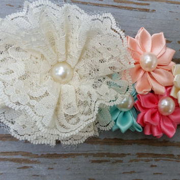 Peach-Mint-Coral Pink Bridal Sash-Flower Girl Sash-Headband-Country Chic Wedding-Bridal Sash-Summer Wedding-Wedding Sash