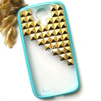ROKE(TM) Gold Pyramid Studded Turquoise Rubber Transparent Samsung Galaxy S4 Case