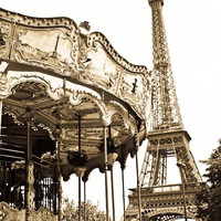 Paris Photography - Eiffel tower Golden View - Carnival- Whimsical - 8x10 Fine Art Photograph - Paris Decor