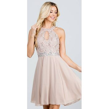 La Scala 25169 Sleeveless Halter Fit and Flare Dress Short Taupe