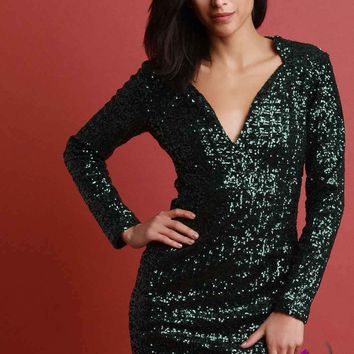 Metallic Sequin V-Neck Long Sleeve Mini Dress
