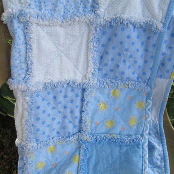 Handmade Large Sunshine and Stars Flannel Rag Baby Quilt,  Crib Quilt, Toddler Quilt or Blanket