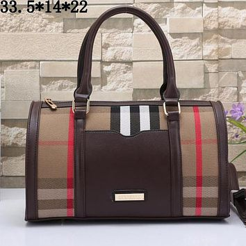 Perfect Burberry Women Leather Shoulder Bag Satchel Tote Handbag