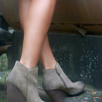 Very Volatile Whitby Abbey Khaki Suede Wedge Bootie