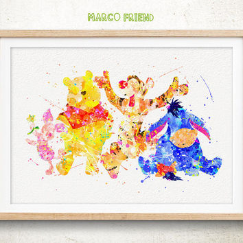 Winnie the Pooh And Friends Watercolor Paint Poster, Disney Watercolor Art Print Home Wall Art Decor