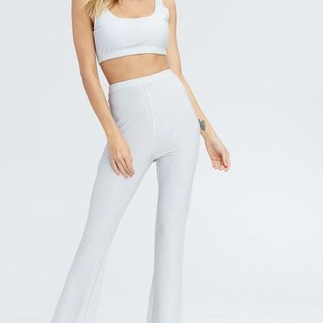 Glitter-Sweet Matching Knit Pant Set in Silver