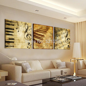 Modern Wall Art Home Decoration Printed Oil Painting Pictures No Frame Canvas Prints 3 Panel Classical Piano Music Notes