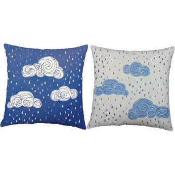 Set of 2 Rainy Days Throw Pillows - Cloud Print Pillow Covers with or without Cushion Inserts - Raindrop Print, Nursery Decor, Cloud Pillow