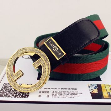Gucci Women's  Men's Fashion Smooth Buckle Belt Leather Belt Monogram Leather Belt Leather belt with pearl Double G