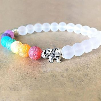 7 Chakra Elephant Charm Beaded Bracelet Mala Bead Yoga Energy Bracelet Jewelry Reiki Prayer Stones