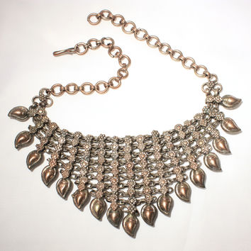 Copper Silver Bib Necklace