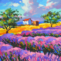 SALE Lavender blues- Original oil painting on canvas by Dmitry Spiros. Size: 24 x 32 in (60 x 80 cm)