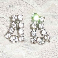 Clear Rhinestone Screw Post VINTAGE EARRINGS 50's Dangle White Rhinestones