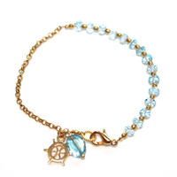 Sky Blue Topaz Bracelet Gold Chain Ship Wheel Nautical Stackable Bracelets FizzCandy Gemstone Jewelry
