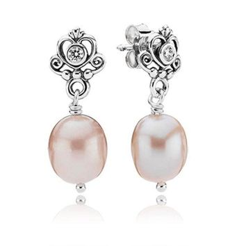 ESB3DS Pandora My Sweet Princess Earrings with Clear CZ and Natural Fresh Water Pearls