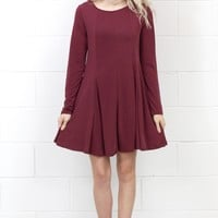 Cupro Modal A-Line L/S Swing Dress {Berry}