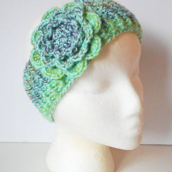 Winter Ear Warmer Headband in Mint Medley with Large Rose, ready to ship.