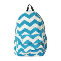 Wave Contrast Color Canvas Backpack Blue
