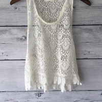 Totally Lace Crochet Hem Crop Top