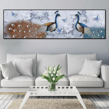 canvas painting art print Peacock poster and Picture wall posters painting on the wall picture Painting art home decor wall art