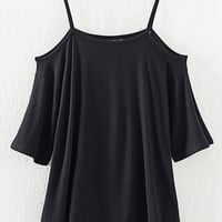 Black Cold Shoulder Shift T-shirt