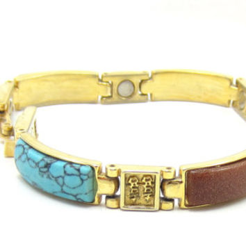 Gold Tone Multi Stone Clasp Link Bracelet Turquoise Brown Stone Quartz Agate Tiger Eye Victorian Design Vintage Costume Jewelry 8 Inches