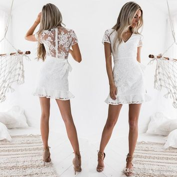 New Arrivals 2019 Sheath Women Dresses Summer Casual Lace Sexy Bodycon Sundress Fashion Vintage White Mini Floral Backless Dress