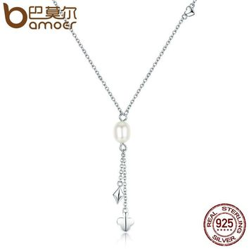 BAMOER 100% Authentic 925 Sterling Silver Freshwater Pearl Necklace