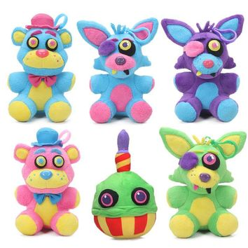 2018 15cm Blacklight  at  Plush Keychain Toys Neon Foxy Cupcake Freddy Fazbear  Toy Soft Stuffed Dolls