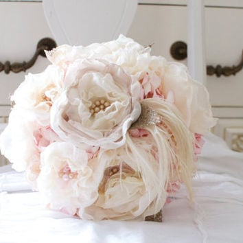 Shabby cottage bouquet of southern pink paper flowers, creamy fabric flowers, burlap, lace, pearls and feathers