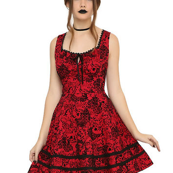 Red & Black Flocked Filigree Skull Dress