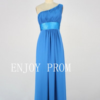 A-line One shoulder  Chiffon floor-Length Bridesmaid/Evening/Prom Dress