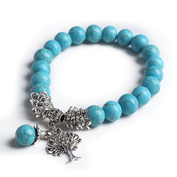 Cat Eye Jewels Tibetan Silver Life Tree Charm Energy Meditation Birthstone Bracelet Turquoise December