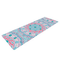 "Miranda Mol ""Prismatic White"" Blue Pink Abstract Yoga Mat"